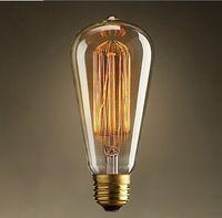 Wholesale Incandescent Vintage Bulb W V Retro Edison Art Decoration ST64 Light Bulb E27 Antique lamps Bulbs