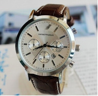 wach - new fashion watches men watch Scale Wrist belt Wach Brown Gift Watch with Calendar