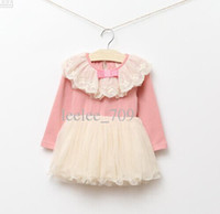 Baby girl kids autumn long sleeve dress tutu dress lace dres...
