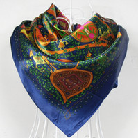 Cheap 2014 Fashion Brand Silk Scarf Shawl Women Satin Large Square Scarves Printed as Christmas Gift 90*90cm,red,blue,orange,black
