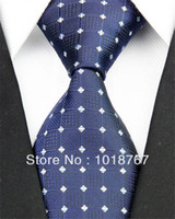 Wholesale NT0190 BLUE SILVER PLAID PATTERN BRAND NEW MEN S FASHION CASUAL BUSINESS NECKTIE JACQUARD WOVEN SILK POLYESTER TIES FOR MEN