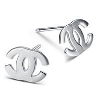 Wholesale iice silver double C Stud earrings sterling silver earings