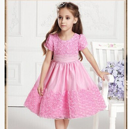 Wholesale 2014 New arrival flower girls dresses for bridal pageant gowns kids jordans Red pink princess dress A line for wedding party