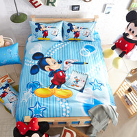 Wholesale Hot Twin Queen Full Size Mickey Mouse Bedding Sets Bedclothes Duvet Cover Bed Linen Home Textile Bed Sheet