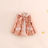 Cheap Hooded Print Polka dots Cotton Fur Coats Kids Girls winter thick fashion pink green Warm outwear baby girl clothes