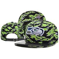 Wholesale Camo Black Seahawks Snapbacks Unisex Football Hats Caps Hot Selling Trucker Hats Adjustable Snap Backs with Leather Brim Top Sports Caps