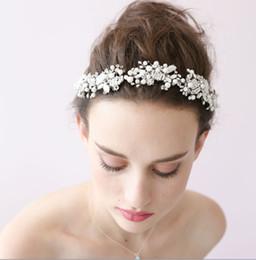 Wholesale Luxurious Twigs Honey European style Bride Akoya and Glass Crystal Headbands Pony Tails Holder O020