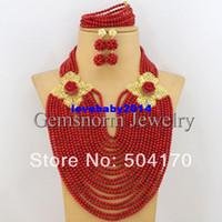 Wholesale Marvelous African Wedding Jewelry Sets Coral Beads Jewelry Set Nigerian Wedding African Beads Jewelry Set CNR155