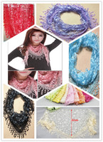 Wholesale HOT colors spring autumn Lace Bud silk hollow out tassel scarves adornment pure color triangle scarf shawl beach towels silk scarf
