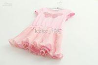 baby girl kids pleated dress fluffy full dress lace dress se...