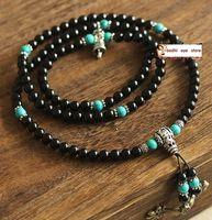 Cheap PA007 108 black tourmaline crystal 8mm beads japa rosary prayer mala necklace Tibetan Buddhist meditation