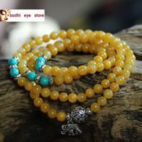 Cheap RB035 108 natural 8mm top yellow jade bead japa rosary mala prayer Tibetan necklace meditation elephant charm