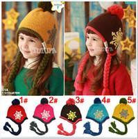 Wholesale Children Caps Kids Winter Cap Cotton Children Handmade Baby Crochet Ear Care Hats Kids Christmas Hat Free Size Fit T