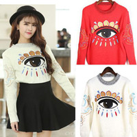 Cheap Sweater Women Short Jumper Wool Pullovers Big Eyes Embroidery Sweater O Neck Ladies Sweaters 3 Colors Bust 80-105cm 2014 New