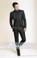 wholesale suits - Black Slim Fit Custom made mens tuxedo wedding suits for men Groom Groomsmen Tuxedos mens wedding suits Jacket Pant Vest