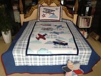 Cheap 100% Cotton Twin Plane Quilt &Comforters Sets Applique Kids Bedding Set Aircraft Quilted Bedspreads Super Soft