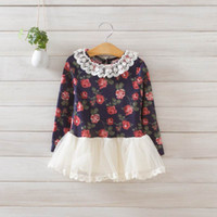 floral print dress - 2014 Autumn Girls Dresses Lace Gauze Floral Print Long Sleeve Dresses
