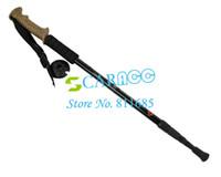 Cheap Adjustable 3-Step Aluminum Alloy 3-section Hiking Pole Telescopic Antishock Pole Walking Stick Cork Handle Bar 17487