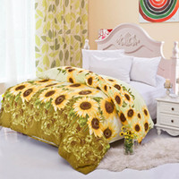 Wholesale Bedding Sets Comforter Cover Duvet Quilt Cover Home Textile Cotton Yellow Sunflower Pattern Queen King Full Size