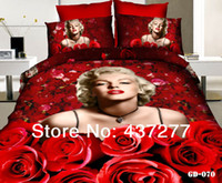 Cheap new 2014 sexy red rose Marilyn Monroe bedding bedroom sets for full queen king size cotton bed linen sheets comforter sets 7 8pc