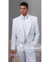 Cheap Wholesale - Newest Arrival Noble White Tail Coat High Quality Comfortable Groom Tuxedos Groomsmen Suits wedding suits for men(Jacket+Pants+V