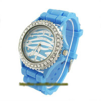 Wholesale Holiday sale christmas gift Zebra grain Geneva Blue silicone Watch Fashion Women Crystal watch GV005