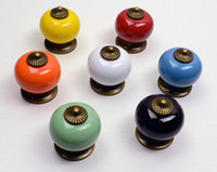 Wholesale 10pcs Ceramic Handle Cabinet Door Pull Black Knobs Drawer Locker Cupboard Vintage Retro Gold