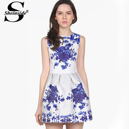 Wholesale Sheinside Brand Party Wedding Casual Women Clothing Fashion White Sleeveless Porcelain Printed Flare Knee Length Pleated Dress