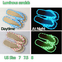 Wholesale Sandals Women Summer Yellow White Dot Night Light Slippers Female Glow in the Dark Flip Flops New High Quality
