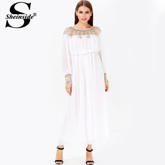 Sheinside Modest Prom Sheer White Long Sleeve High Collar Beaded ...