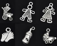 Cheap 30 Mixed Silver Tone Baby Charms Pendants