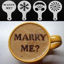 16pcs set Aluminum Fashion Cappuccino Stencils to Decorate Coffee Stencil Coffee Art Spray Tools