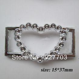 Wholesale CM176 Heart Silver Tone Acrylic Clear Buckle For Wedding Invitation Card Chair Sash Ribbon Slider