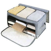 bamboo fabric clothing - High Quality Foldable Bamboo Fibre Home Storage Bag Box Quilt Cloths Organizer