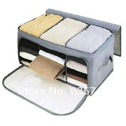 Wholesale High Quality Foldable Bamboo Fibre Home Storage Bag Box Quilt Cloths Organizer