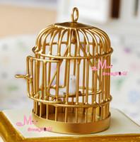 Wholesale Golden Metal Bird Cage W White Bird Scale Dollhouse Miniature Furniture