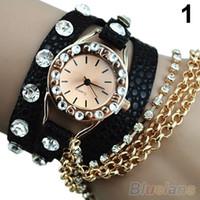 Wholesale Hot Sale Candy Women s Hawaiian Sparkling Rhinestone Long Leather Sling Chain Quartz Wrist Watch for cristmas dress Gift