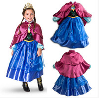Wholesale frozen girl dresses gown new autumn christmas halloween children princess lace long sleeve tutu skirt dress cape party costume anna dress