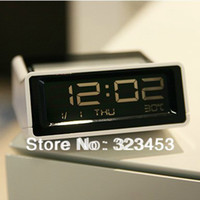 Wholesale Multifuction black White background Red backlight LCD clock Digital with alarm clock thermometer and snooze function