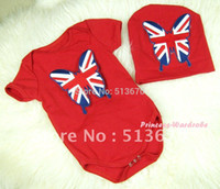 patriotic caps - Red Baby Jumpsuit with Patriotic British Flag Butterfly Print with Cap Set MAJP12