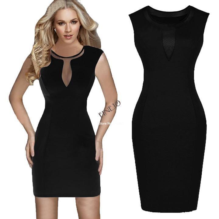 Black White Sexy Lady Women's Fashion Stretch Bodycon Dresses Long