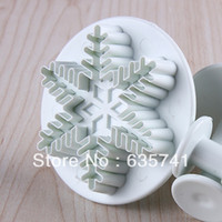 Wholesale 3 Size ABS Plastic Snow Flake Mold for Decorating Fondant Cake Cookie DIY