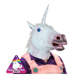 Wholesale Bargain Price Creepy Horse Unicorn Mask Head Halloween Party Costume Theater Prop Novelty Latex Rubber White color Christmas gifts