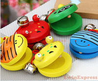 baby instrument - 10x Baby Wooden Animal Hand painted Castanet Musical Instrument Toy For Child Kid Colorful