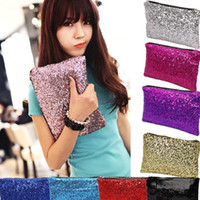 Wholesale 2014 New Dazzling Sequins Women Ladies Sparkling Bling Sequin Clutch Purse Evening Party Handbag Bag Glitter Spangle Day
