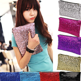 Wholesale 2016 New Dazzling Sequins Women Ladies Sparkling Bling Sequin Clutch Purse Evening Party Handbag Bag Glitter Spangle Day