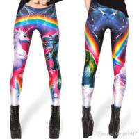 Wholesale High elastic milk silk lady leggings digital printing red rainbow pattern lady style render leggings