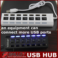Wholesale 7 PORTS ON OFF Switch USB High Speed HUB Expansion Splitter Adapter For laptop U disk White and Black Colors UP