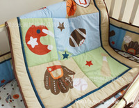 baseball baby bedding - 100 cotton Baby Quilt Nursery Comforter Cot Crib bedding for girl and boy animal Embroidery Butterfly Baseball monkey Designs
