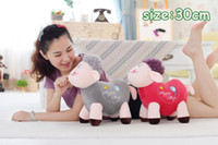 Wholesale 30cm Cute the sheep lamb plush toys candy color best gift bag sends kids